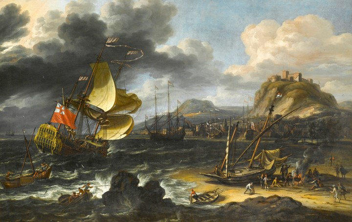 An English Man-O'War Running into a Crowded Continental Port