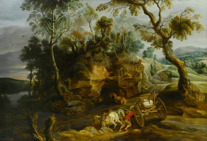 Lucas van Uden - Landscape with a Cart Crossing a River | MasterArt