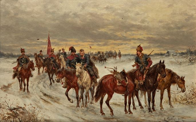 Ludwig Gedlek - Mounted Cossacks  &  Mounted Cossacks Discovering a Landscape | MasterArt