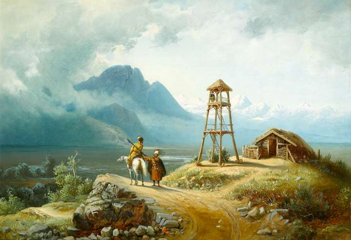 A Mountainous Landscape with a Horseman by a Tower