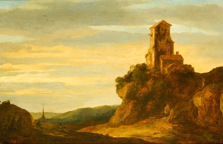 A Hilly Landscape with Wanderers at the Foot of a Castle Ruin