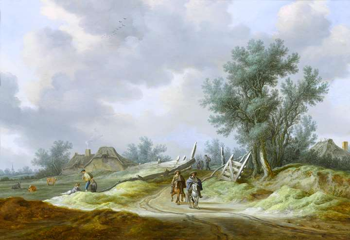 Travellers on a Path, in a Dune Landscape