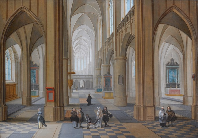 Pieter Neeffs The Elder - The Interior of a Gothic Church with Elegant Company | MasterArt