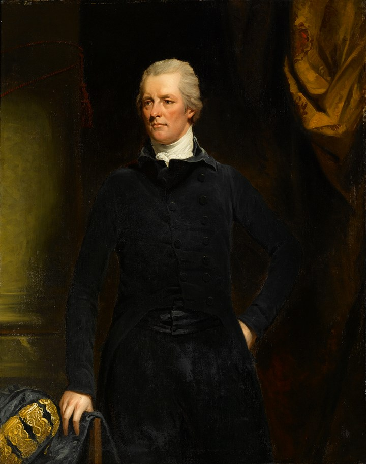 Portrait of the Right Honourable William Pitt the Younger (1759 - 1806),  Three-Quarter-Length, in a Black Coat, Standing before a Column and Gold Brocade Drape