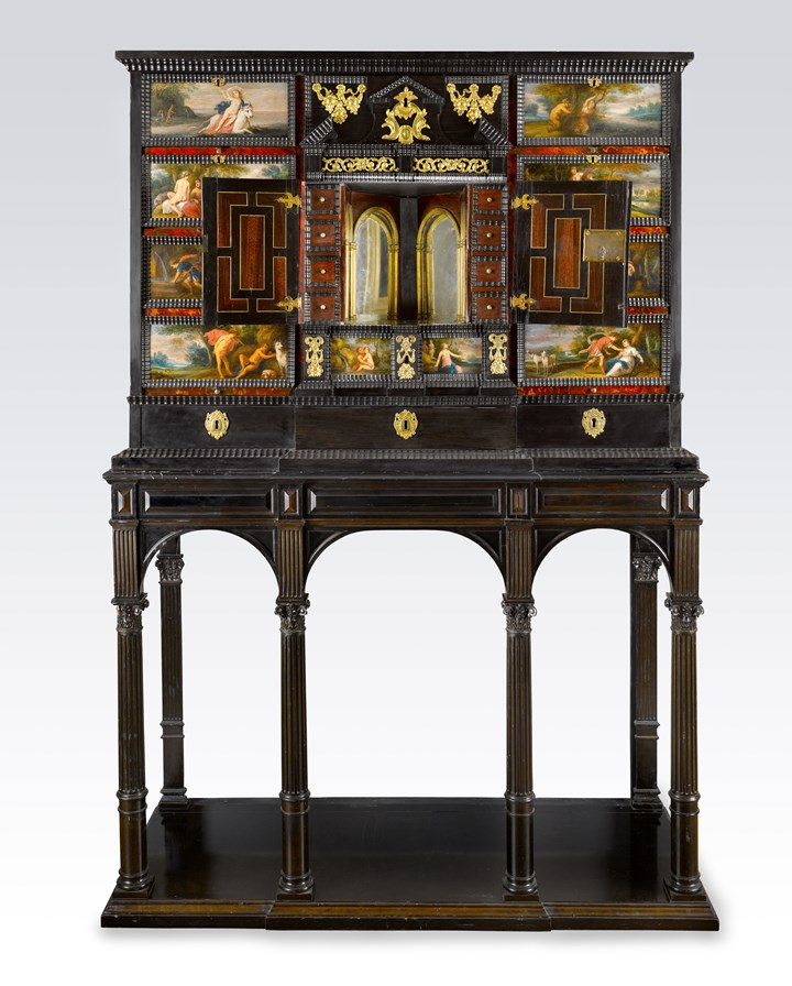 A Gilt-Metal-Mounted Ebony, Ebonized, Rosewood, Tortoiseshell and Ivory Cabinet on a Stand, Decorated with Scenes from Ovid's Metamorphoses