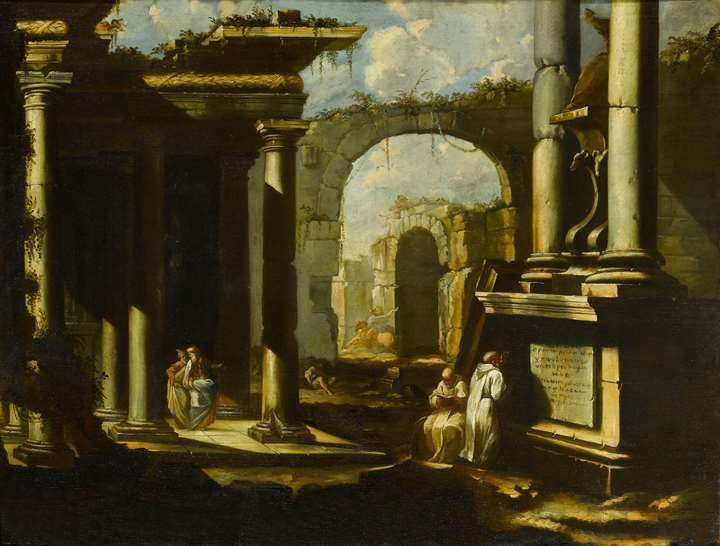 A Capriccio of Roman Ruins with Monks & A Capriccio of Roman Ruins with an Equestrian Statue