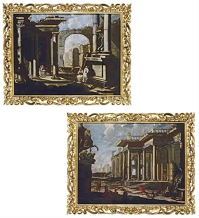School North Italian - A Capriccio of Roman Ruins with Monks & A Capriccio of Roman Ruins with an Equestrian Statue | MasterArt