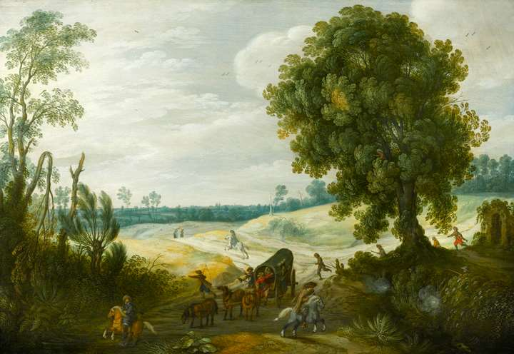A Landscape with a Convoy on a Wooded Track under Attack