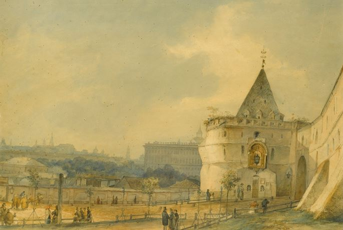 Sokrat Maksimovich  Vorobiev - View of the Entrance to the Andronikov Monastery, Moscow | MasterArt
