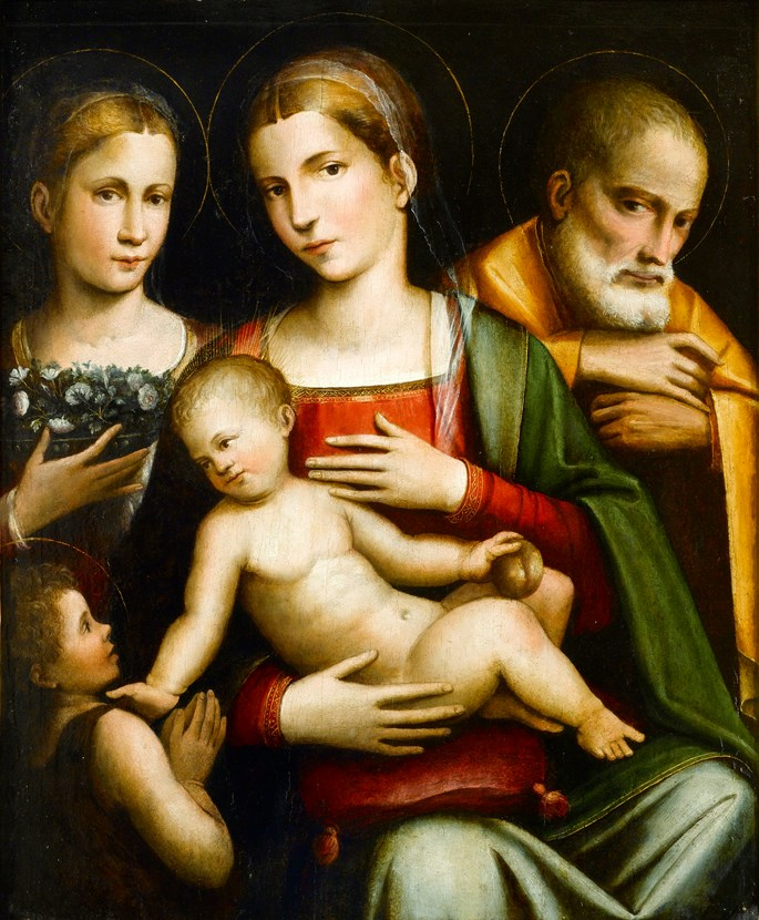 Giacomo Raibolini - The Holy Family with the Infant Saint John the Baptist and Saint Elizabeth | MasterArt