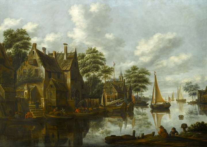 A River Landscape with Figures outside a Tavern and Yachts Moored alongside Houses