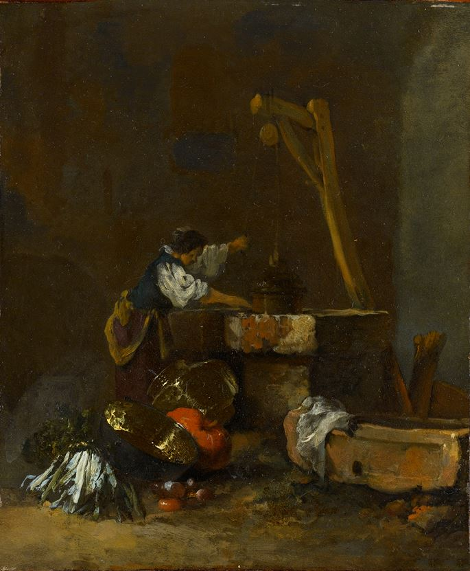 Willem Kalf - A Woman Pulling Water from a Well, a Pile of Vegetables at her Feet | MasterArt