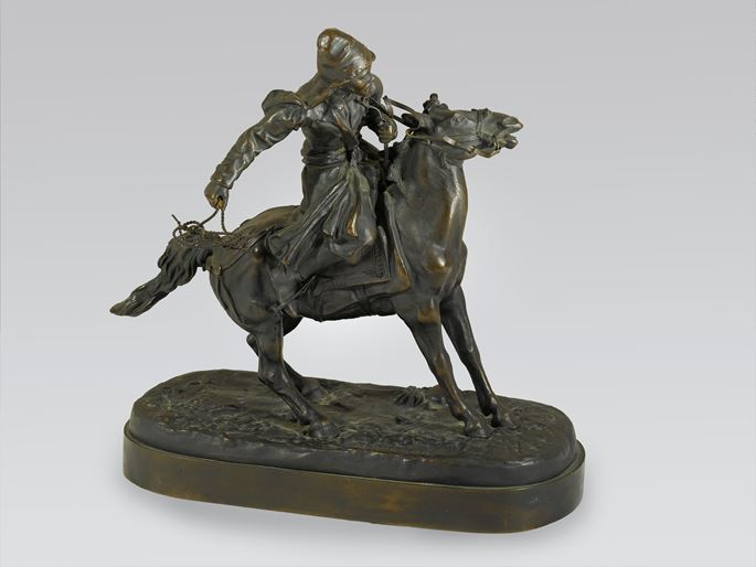 Yevgeny Alexandrovich  Lancerey  - A Russian Equestrian Bronze of a Khirgiz Herdsman with Lasso | MasterArt