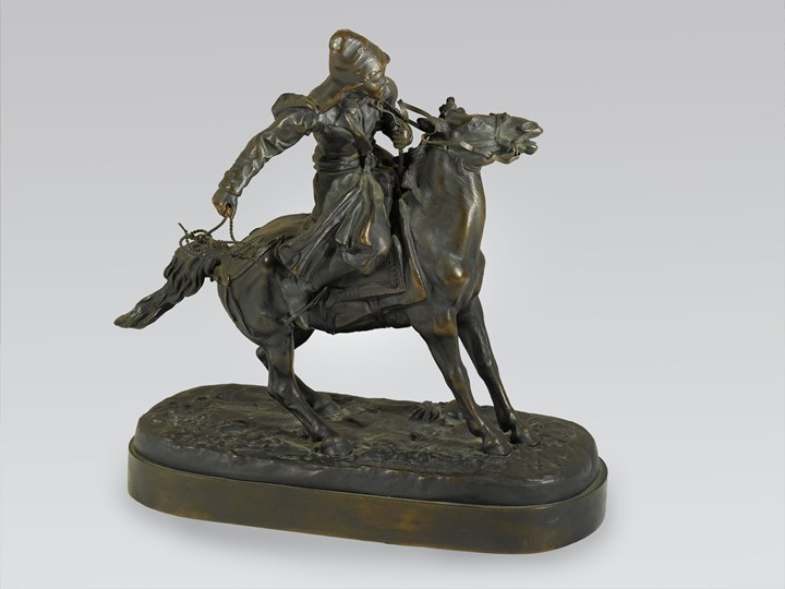 A Russian Equestrian Bronze of a Khirgiz Herdsman with Lasso