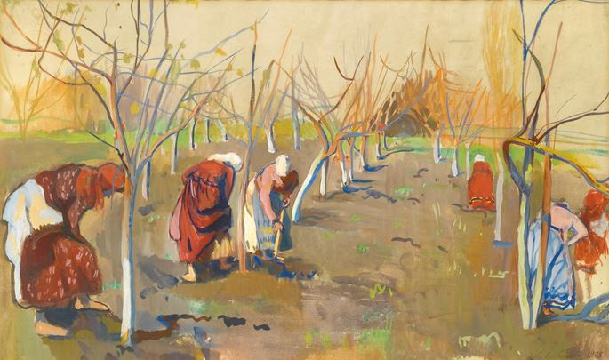 Zinaida Evgenievna Serebriakova - Working in Soil in the Apple Orchard | MasterArt