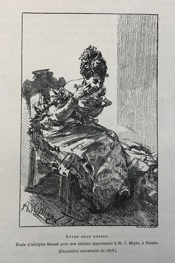 Adolph MENZEL - A Seated, Elegantly Dressed Lady Eating from a Plate   MasterArt