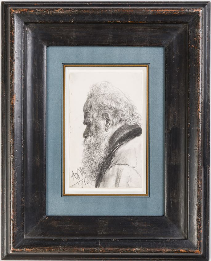Adolph Von MENZEL - A Bearded Man Looking Down to the Left | MasterArt