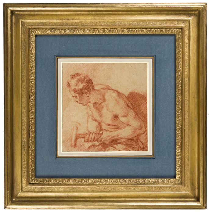 François Boucher - Study of a Male Nude Holding a Hammer | MasterArt