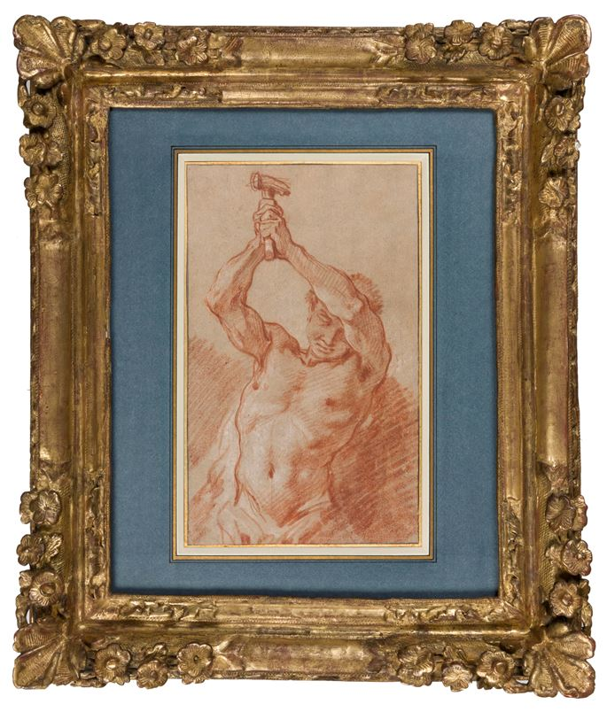 François Boucher - Study of a Male Nude Holding a Hammer Above his Head   MasterArt