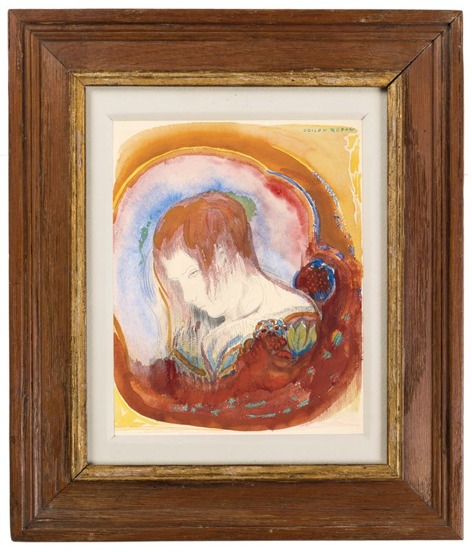 Odilon Redon - The Head of a Young Woman Looking Down (Tête de Femme Penchée)   MasterArt