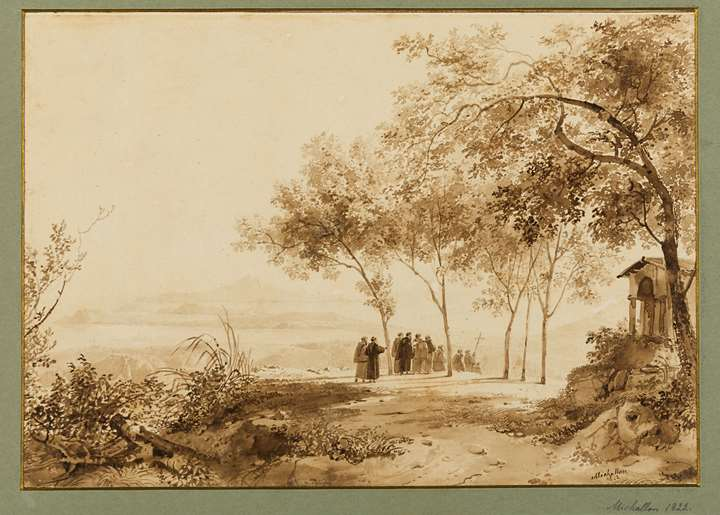 A Procession of Monks in the Countryside near Naples