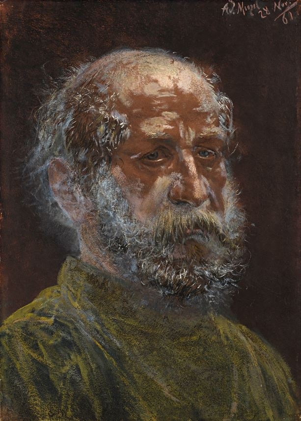 Adolph Von MENZEL - The Head of a Bearded Man | MasterArt
