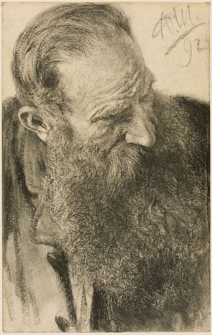 A Bearded Man Looking Down and to the Right