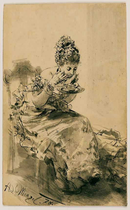 Adolph MENZEL - A Seated, Elegantly Dressed Lady Eating from a Plate | MasterArt