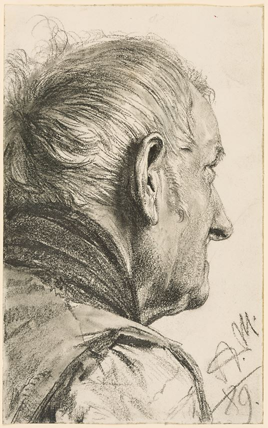 Adolph MENZEL - An Old Man with His Head Turned Away | MasterArt