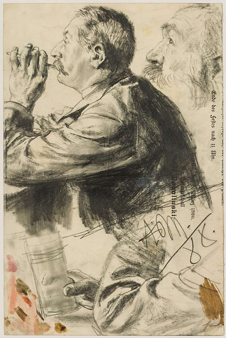 Studies of a Man Smoking, in Profile