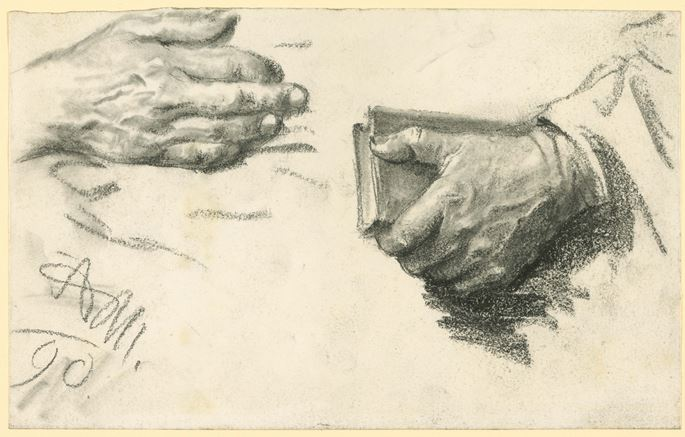 Adolph MENZEL - Study of Two Hands, One Holding a Book | MasterArt