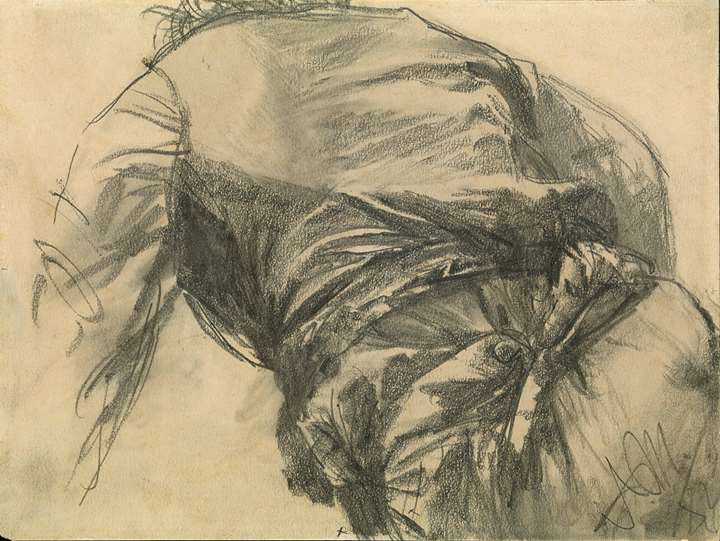 Study of the Back of a Man Bending Down