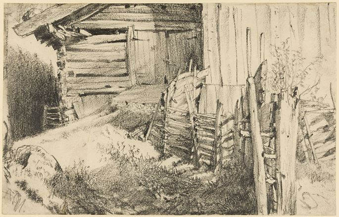 Adolph MENZEL - The Side of a Mountain Farmhouse | MasterArt
