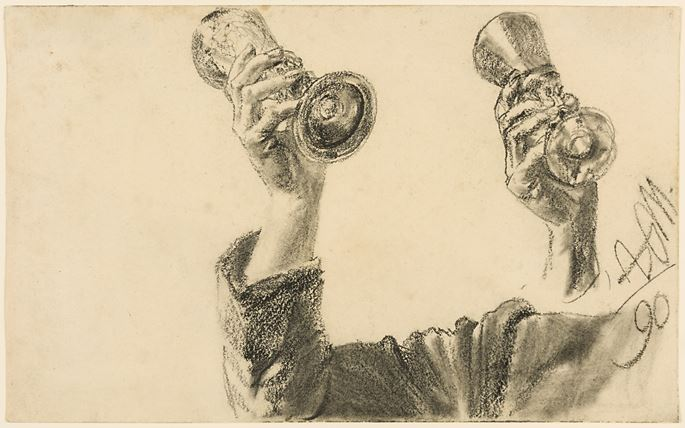 Adolph MENZEL - Two Studies of a Right Arm and Hand Holding a Glass | MasterArt