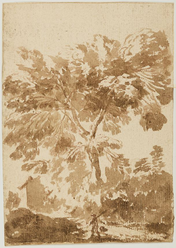 Alessio DE MARCHIS - Landscape with a Traveller by a Tree, a House Beyond | MasterArt