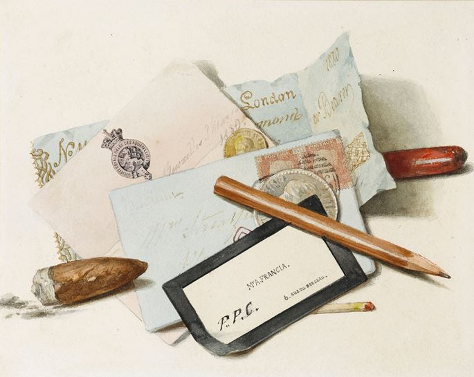 Alexandre Thomas FRANCIA - A Still Life of Letters, Cards, an Envelope, a Pencil, a Match and a Cigar Stub | MasterArt