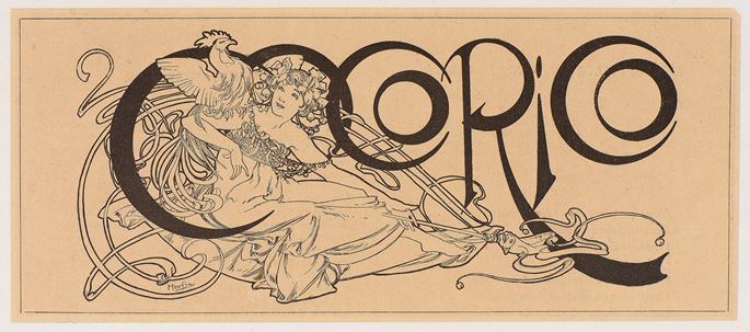 Alphonse MUCHA - A Woman with a Cockerel: Design for the Title of the Magazine Cocorico | MasterArt