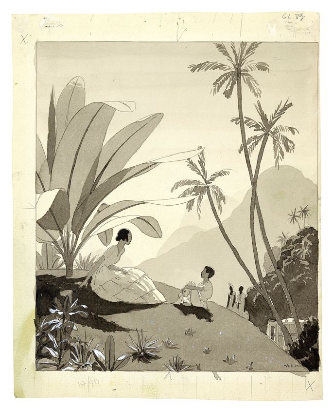 André Edouard MARTY - A Woman and Child Seated in a Tropical Landscape | MasterArt