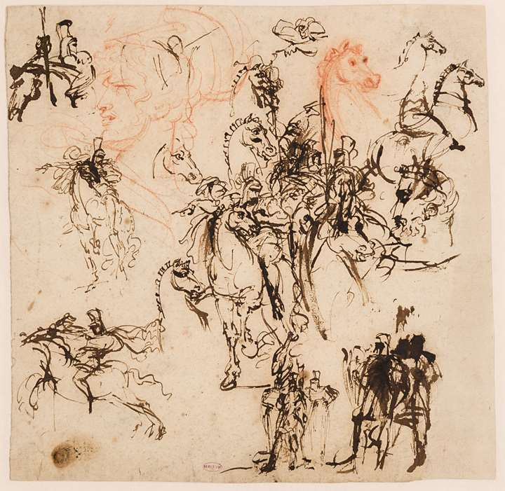 Sheet of Studies of Horses and Mounted Soldiers, the Head of a Helmeted Warrior and other Figures