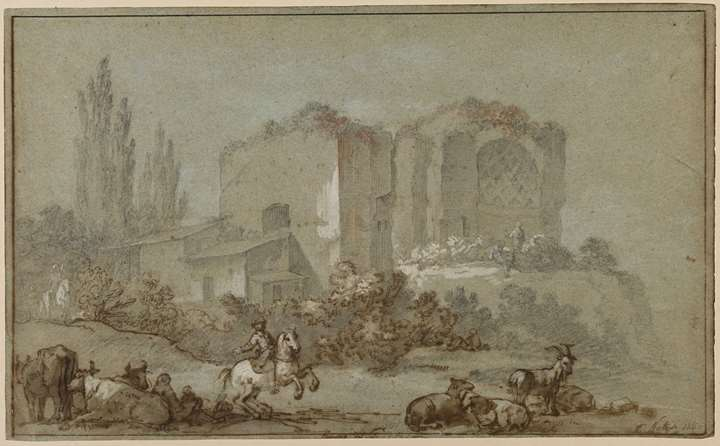 Landscape with a Horseman and Animals before the Temple of Venus and Roma
