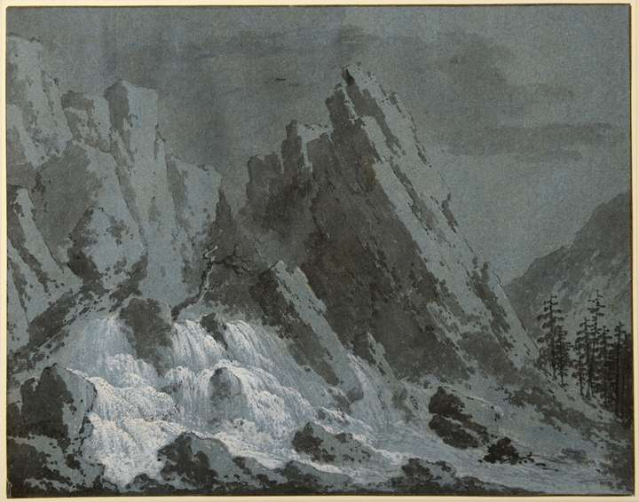 Landscape with an Alpine Waterfall