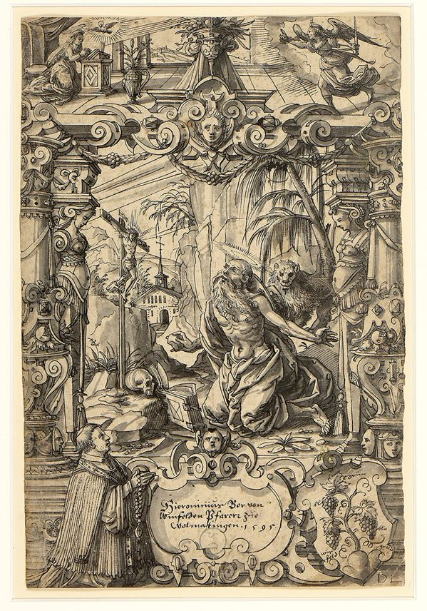 Daniel LINDTMAYER - Design for a Stained-Glass Window: Saint Jerome in the Desert with the Annunciation Above, and a Kneeling Donor and a Coat of Arms Below | MasterArt