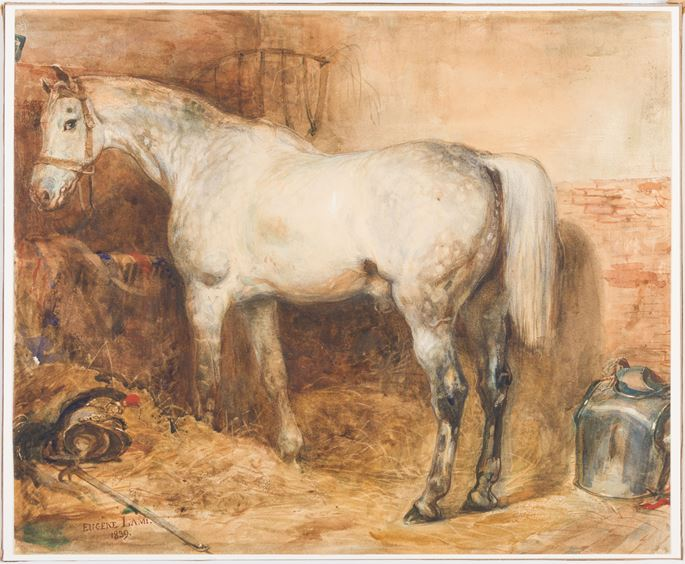Eugène-Louis LAMI - The Horse L'Eclatant in a Stable | MasterArt