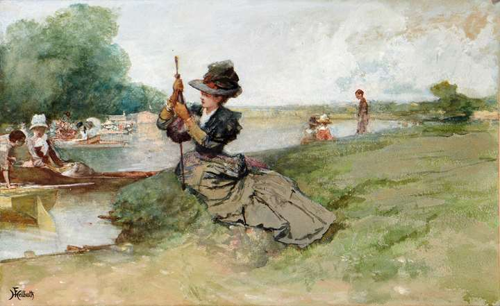 An Elegant Woman Seated by a River