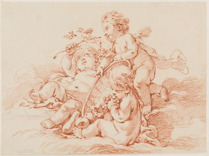 François Boucher - Autumn: Three Putti with a Basket of Grapes | MasterArt