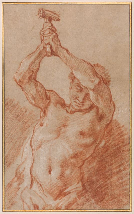 François Boucher - Study of a Male Nude Holding a Hammer Above his Head | MasterArt