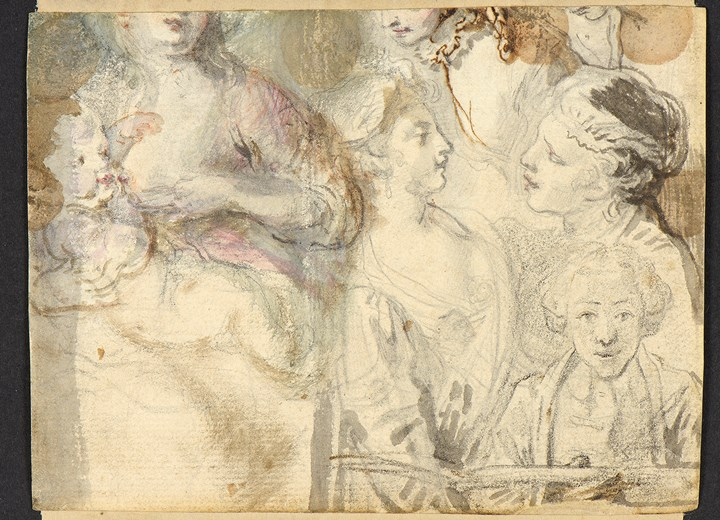 Sheet of Studies of Several Women, One Nursing a Baby, with an Artist Drawing  [recto], Three Women in a Landscape [verso]