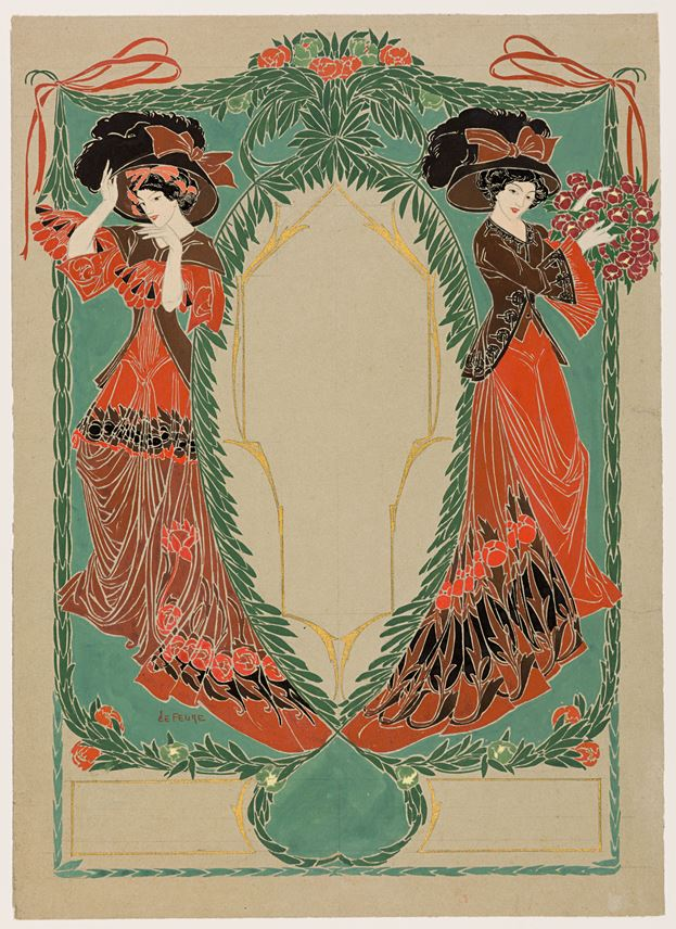 Georges  DE FEURE  - Two Elegant Women: Design for the Cover of Les Modes | MasterArt