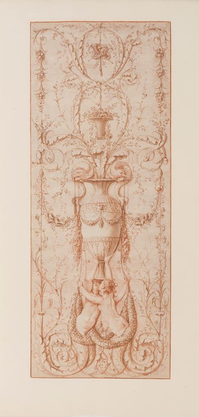 Gilles-Paul CAUVET - Design for a Decorative Panel with Two Sirens Holding a Vase Embellished with Dolphins and other Decorative Motifs | MasterArt