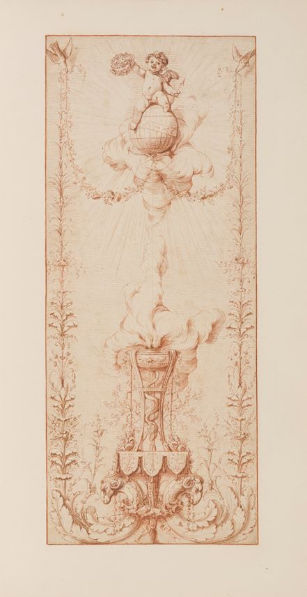 Gilles-Paul CAUVET - Design for a Decorative Panel with a Cherub Seated on a Globe | MasterArt